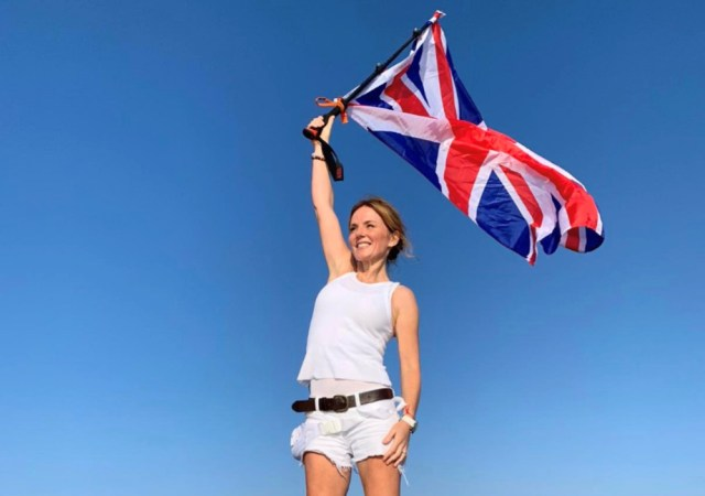 Geri horner flies the flag for girl power at 3,560 feet on snowdon adventure for rainbow woman