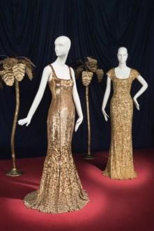 Gold sequined gowns worn by l wren scott