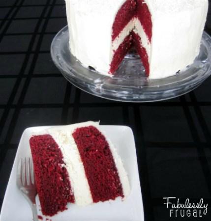 red velvet cheesecake cake with black background