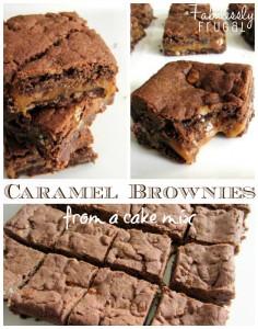 Divine caramel brownies using a cake mix