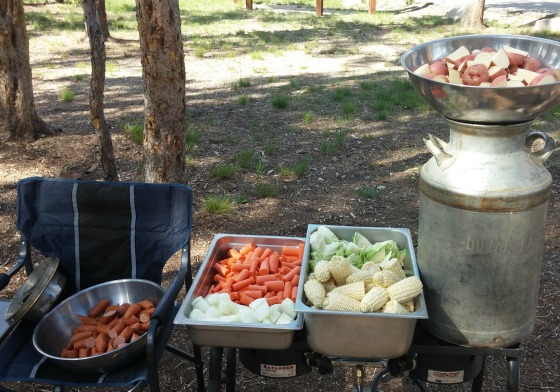 camp cook milk can stew