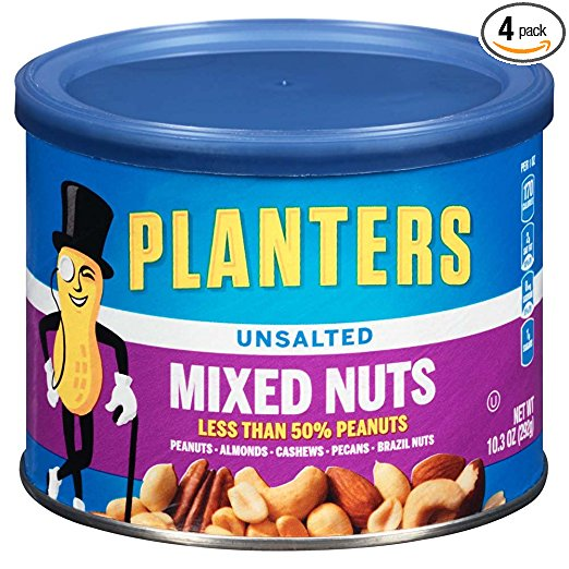 Amazon Planters Mixed Nuts Unsalted 103 Ounce Canister