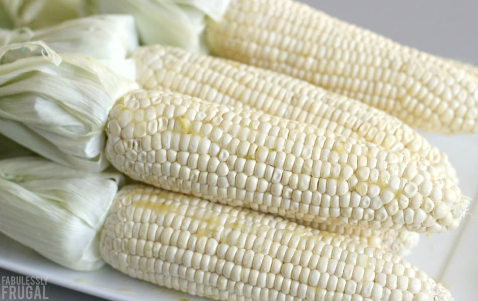 fresh corn on the cob cooked on the grill