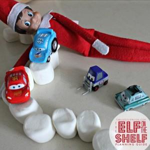 Easy Elf on the Shelf idea: Marshmallow Race Track