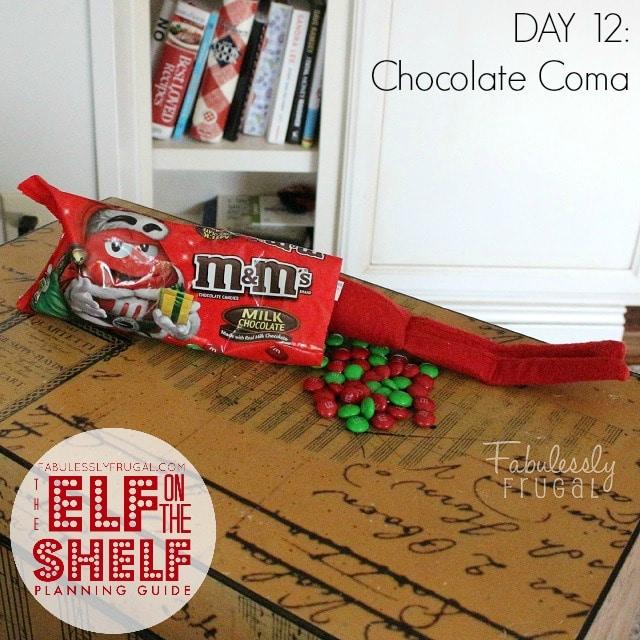 25 Days of Elf on the Shelf Ideas: Day 12 Chocolate coma