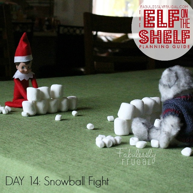 25 Days of Elf on the Shelf Ideas: Day 14 Snowball fight