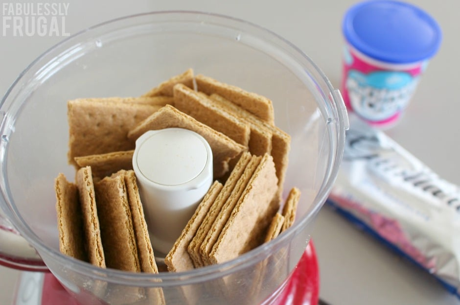 making graham cracker crumbs for smores cookie bars