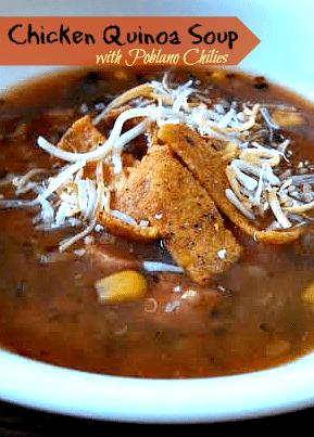 Slow cooker chicken quinoa soup recipe with poblano chiles