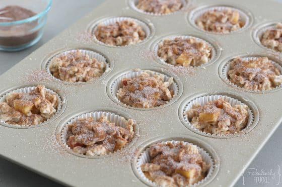 peach oatmeal muffins before baking