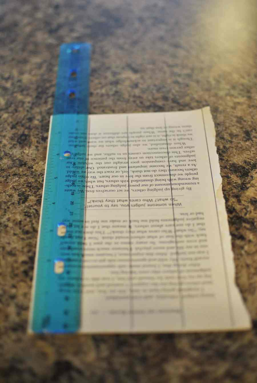 Measuring a page from a book