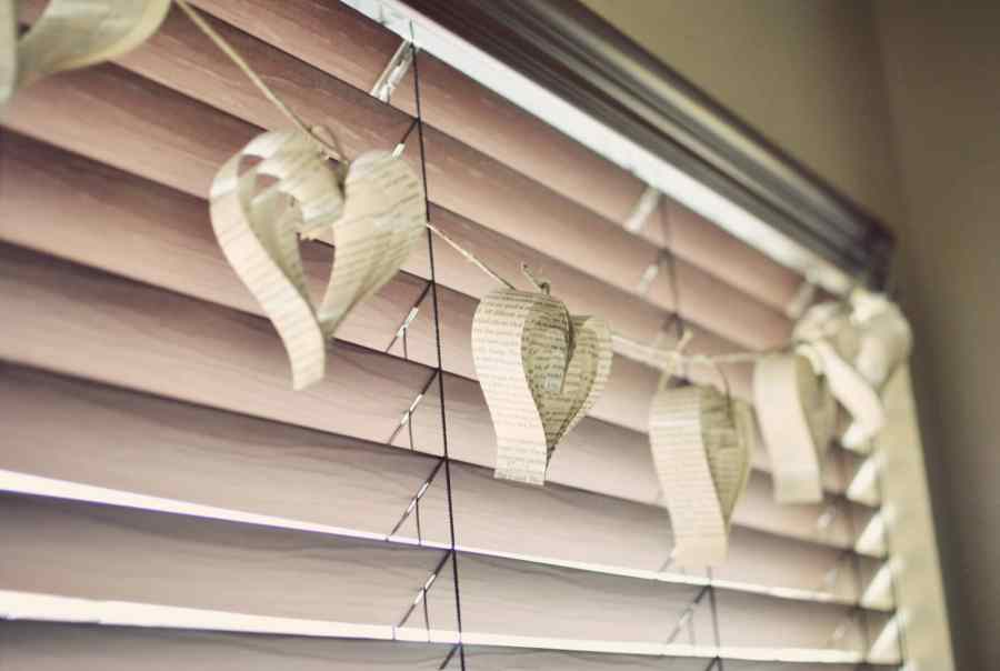 Hanging book paper heart crafts