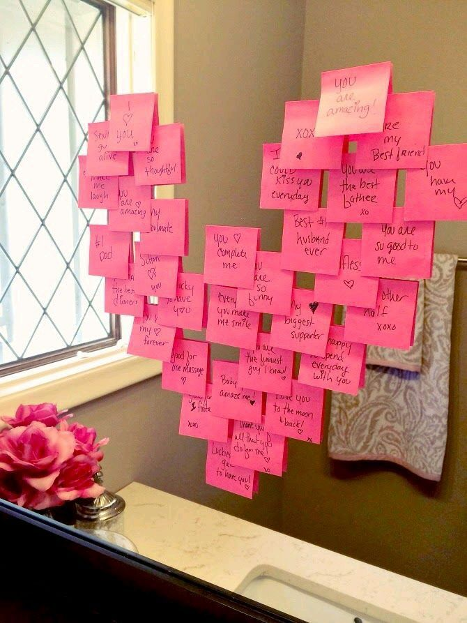 Sticky note heart on a mirror