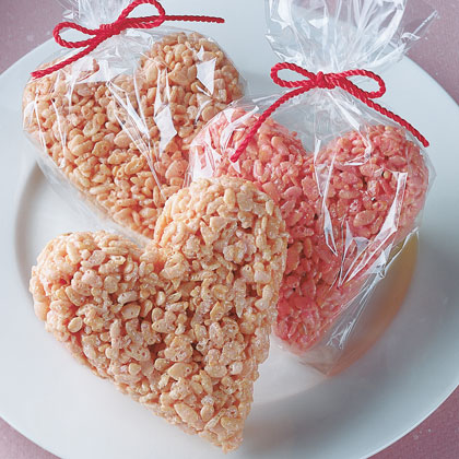 Heart shaped rice krispie treats for Valentines