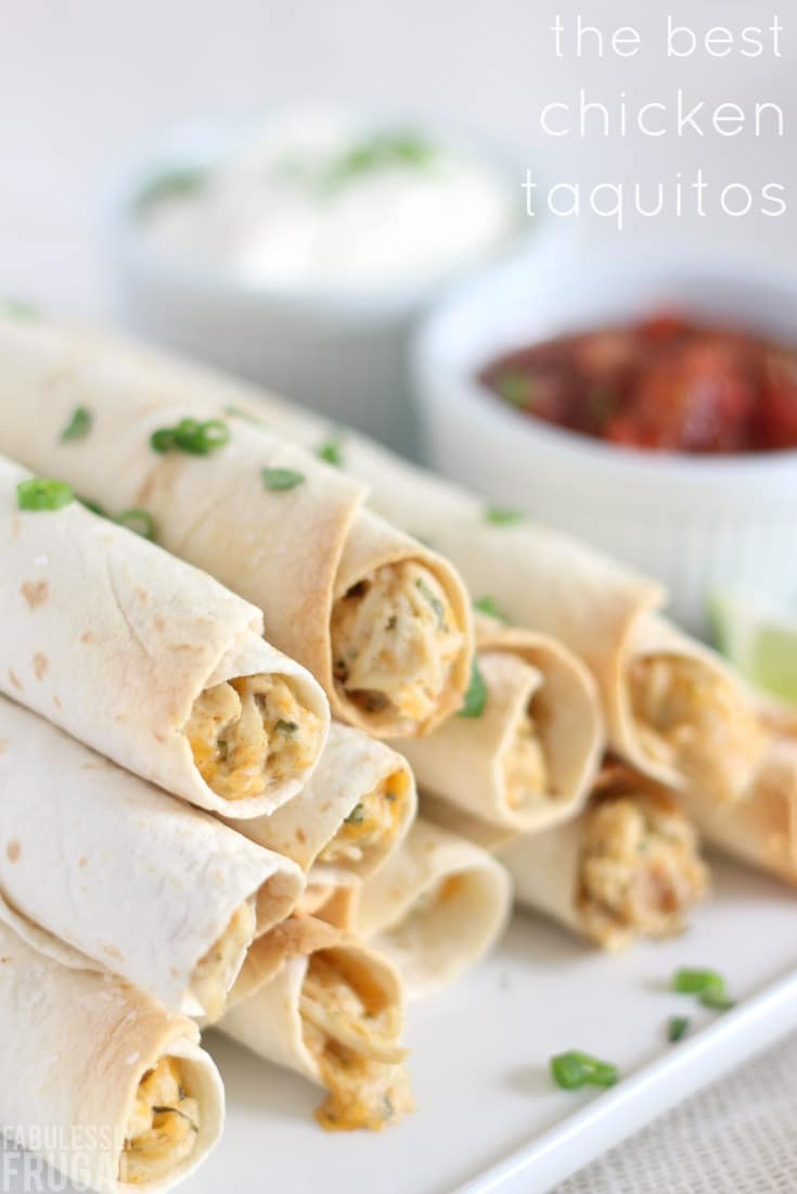 Easy, delicious baked chicken taquitos recipe and freezer meal