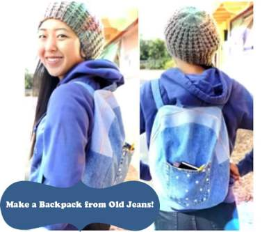 DIY backpack from old jeans