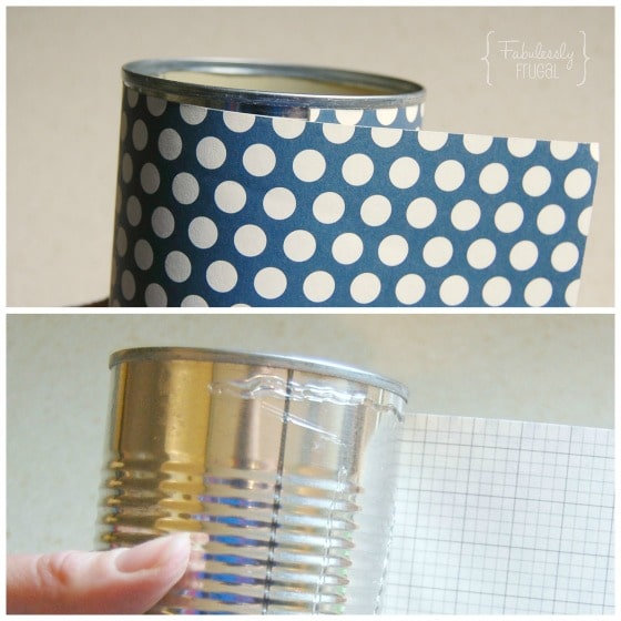 DIY chore consequence can attaching scrapbook paper hot glue