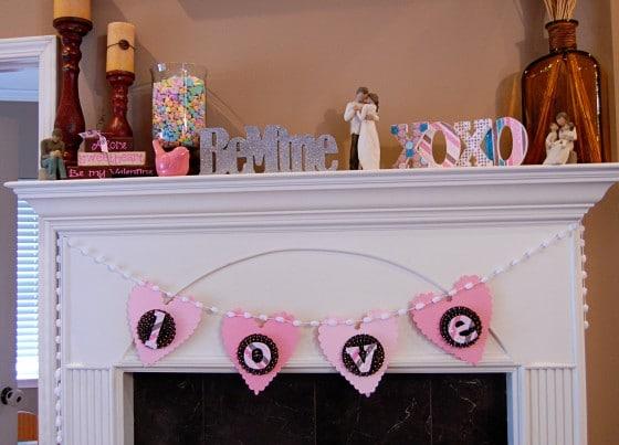 DIY Valentine's Mantle and Banner