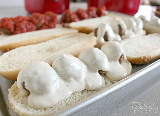 alfredo meatball sub sandwich in the making