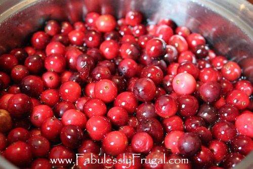 candied cranberries steeping