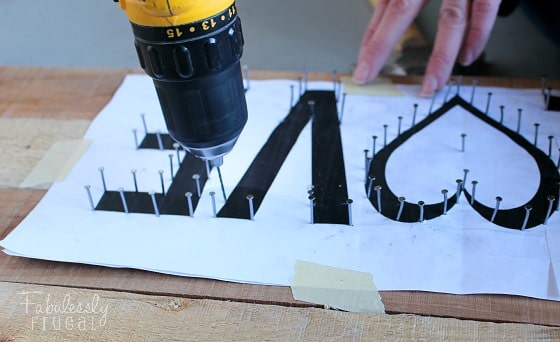 pallet board drill holes for nails string art love