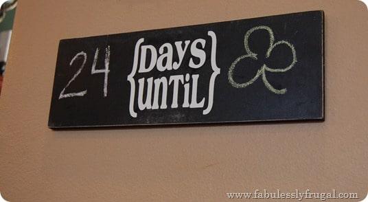 chalkboard countdown board DIY