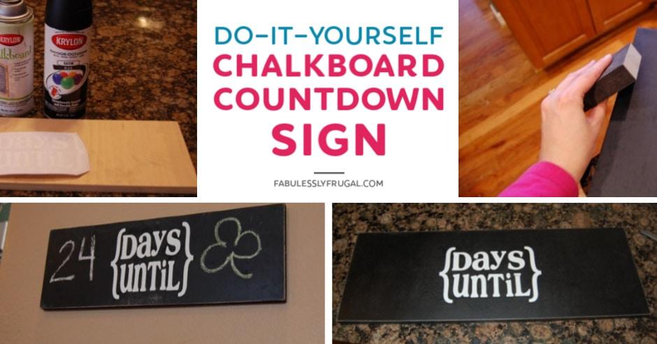 DIY chalkboard countdown sign