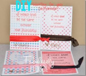 DIY Valentine hair tie card