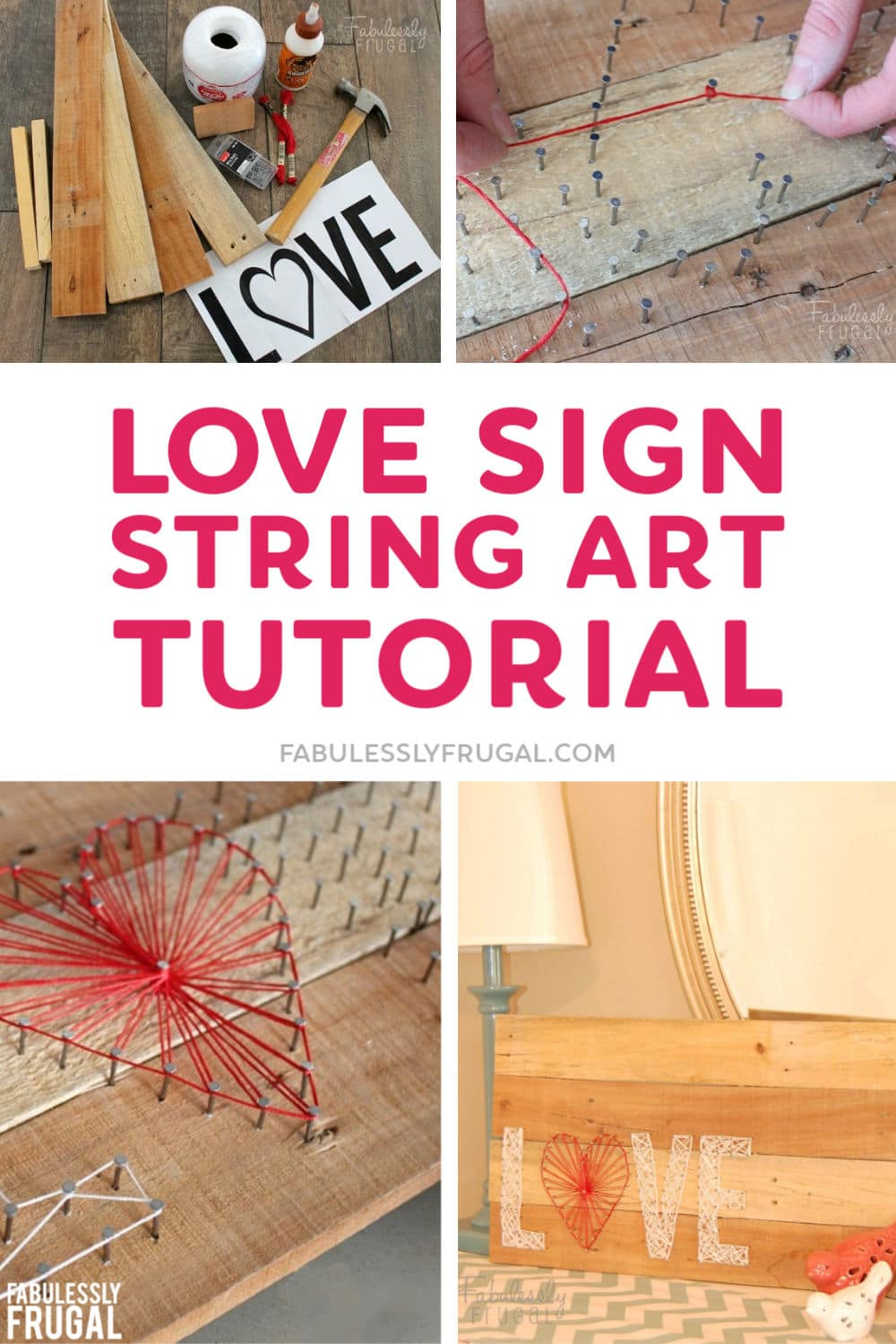 Love string art template and tutorial