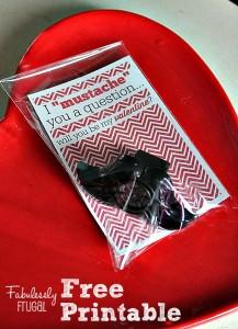 Mustache DIY valentine's day card