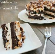 snickers ice cream cake slice with text