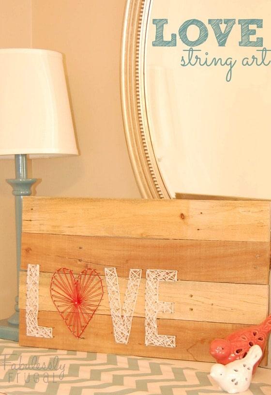 valentine's day love string art on pallet wood sign