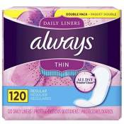 Amazon: 120 Count Always Thin Daily Liners $5.49 (Reg. $16.99)