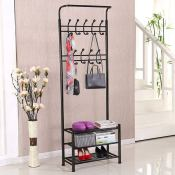 Amazon: 18-Hook, 3-Tier Metal Coat and Shoe Rack (Black) $42.49 (Reg. $59.99)...