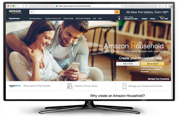 Screen with Amazon website homepage on it