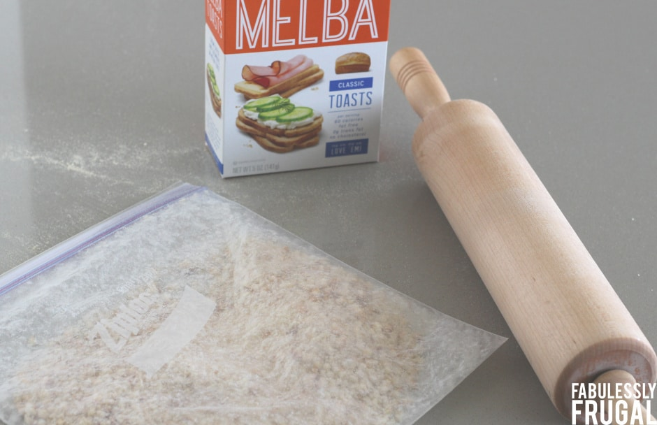 Rolling mini toast for breaded pork chops