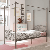 Amazon: Canopy Bed with Sturdy Bed Frame, Metal, Twin Size - Pewter $99.99...