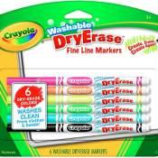 Amazon: 6 Pieces Crayola Washable Dry Erase Fine Line Markers $2.79 (Reg.$4.27)