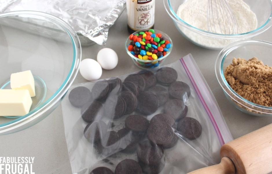 M&M Cookies bars ingredients
