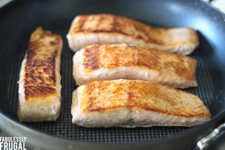 Salmon on skillet