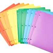 Amazon: 12 AmazonBasics 3-Hole, 2-Pocket Multicolor Plastic Folders as...