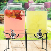 Amazon: Double 1-Gallon Glass Mason Jar Beverage Dispenser on Metal Stand...