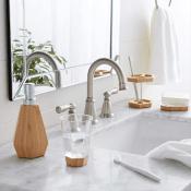 Amazon: 5-Piece Bamboo Bathroom Vanity Accessories Set, Geometric $21.79...