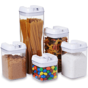Amazon: 5 pc. Set Clear Food Containers with Airtight Lids Canisters $17.01...