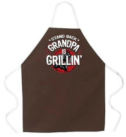 Attitude Apron Grandpa is Grillin Apron, Brown, One Size Fits Most