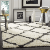 Amazon: 5×7 Safavieh Dallas Shag Collection Ivory and Dark Grey Area Rug...