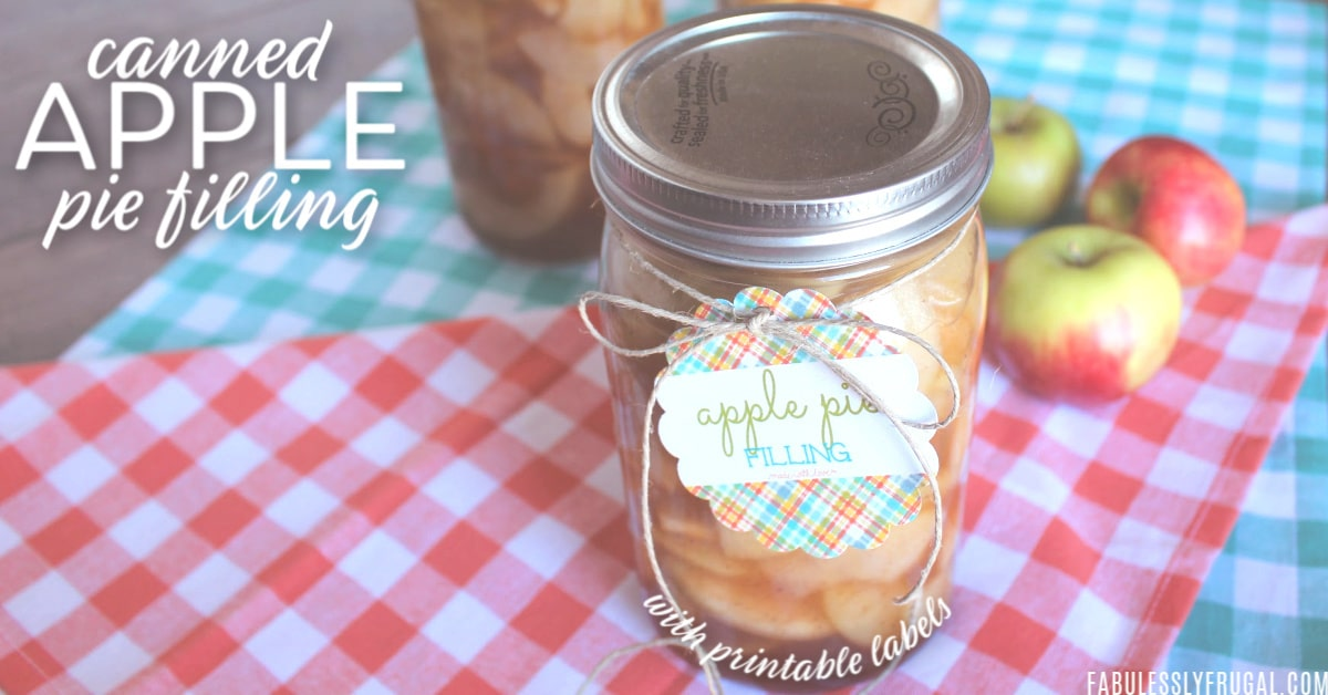 Canned apple pie filling with gift tag
