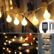 Amazon: 44ft 100 LED Globe String Lights Waterproof with 8 Dimmable Lighting...