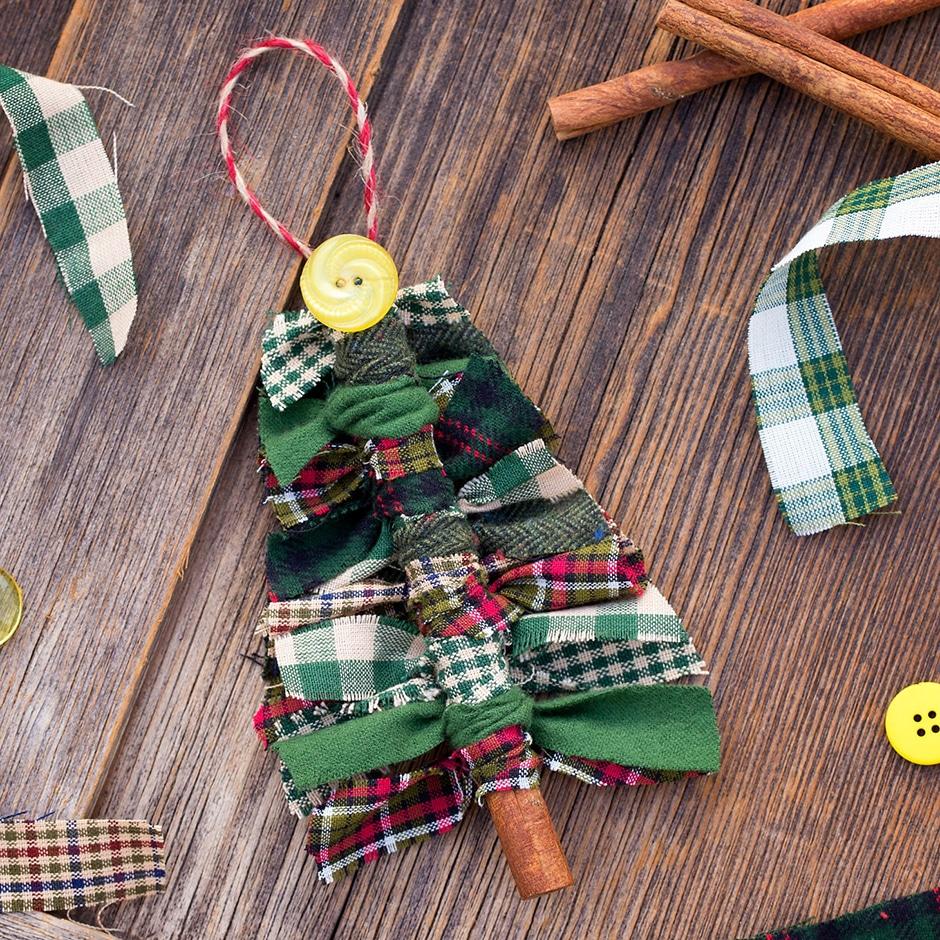 Fabric scrap DIY Christmas tree ornament