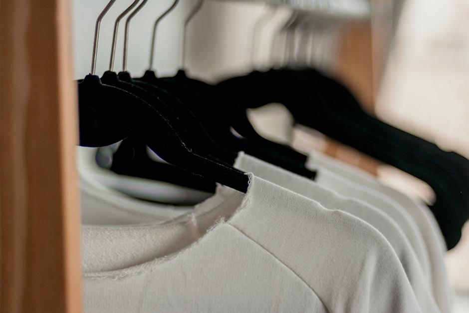 Old tshirts on hangers