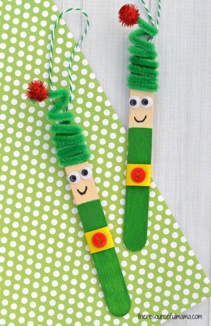 Craft stick elf ornament